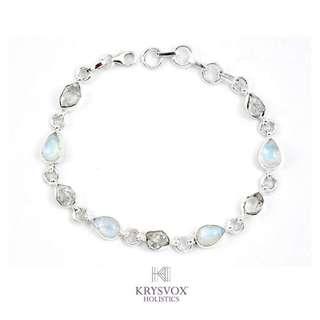 Rainbow Moonstone & Herkimer Artisan Bracelet