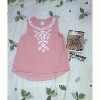 Pink Sleeveless Top with Aztec Print