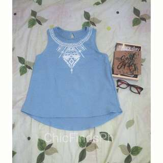 Blue Sleeveless Top with Aztec Print