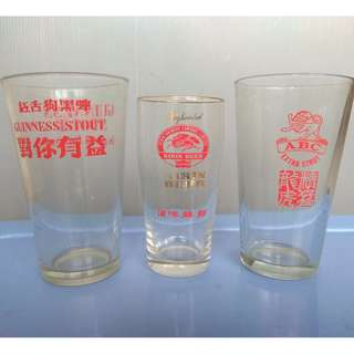 For Collector, For Display, Rare Old Liquor Glasses, a Set of 3 Glass Cup, by GUINNESS Stout, by ABC Extra Stout and by KIRIN Beer