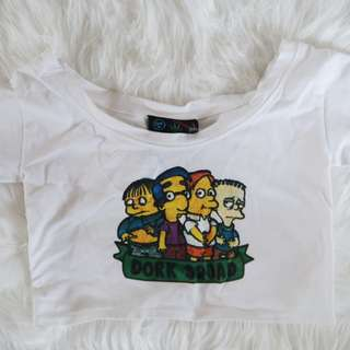 O-mighty weekend the Simpsons dork squad crop tshirt