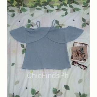 Blue Gray Cold Shoulder Halter Neck Top
