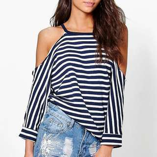 Boohoo Stripe Cold Shoulder Top