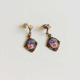 美國古董金屬葉片畫框彩繪花朵琺瑯搖搖針式耳環