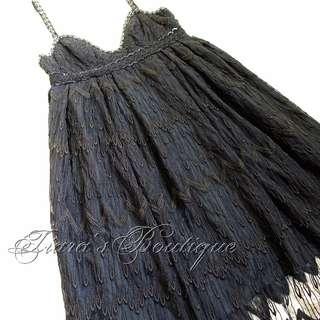 ANNA SUI 黑色華麗 總蕾絲 透明 網紗 洋裝 (112)