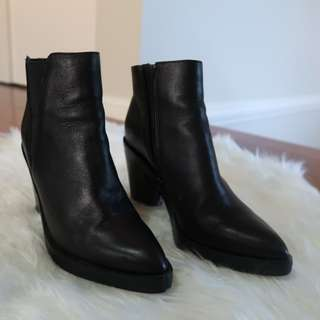 Tony bianco leather pointed heeled boots size 6
