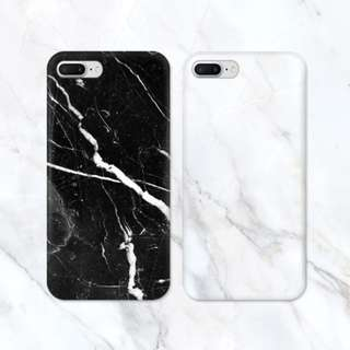 Abstract Monochrome Black White Marble iPhone Casing Case