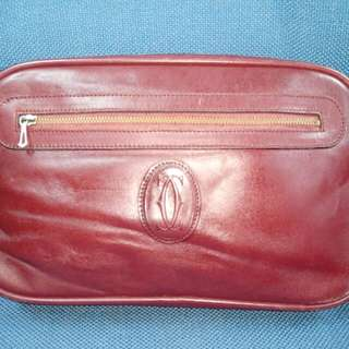 Clutch Bag Leather Cartier Paris