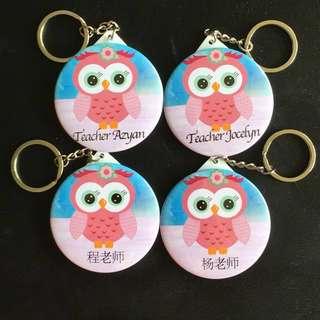 Cute Owl Mirror Key Chain
