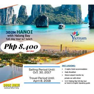 3D2N Hanoi with Halong Bay Full Day Tour w/ Lunch