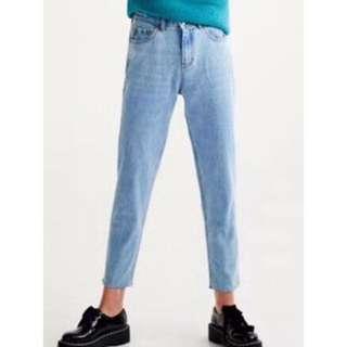 OshareGirl 10 歐美淺藍復古抓紋中腰直筒型牛仔褲