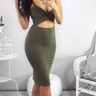 Green Peekaboo Dress