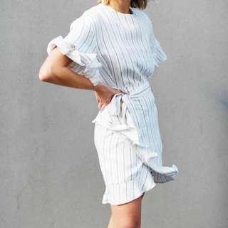 Striped ruffle wrap dress