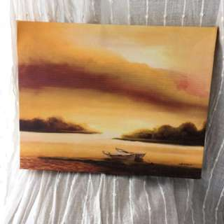 Sunset and Boat Painting
