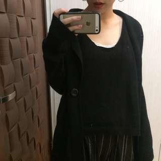 黑色針織單釦外套