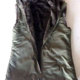Green Fur Lined Vest