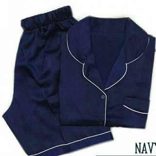 Plain Navy SHORT PANTS Baju tidur wanita katun jepang/ Piyama Katun jepang/ baju tidur print/ baju tidur lucu/ piyama lucu/ piyama motif kartun/ baju tidur kartun