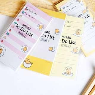Gudetama Memo / To-Do List pad