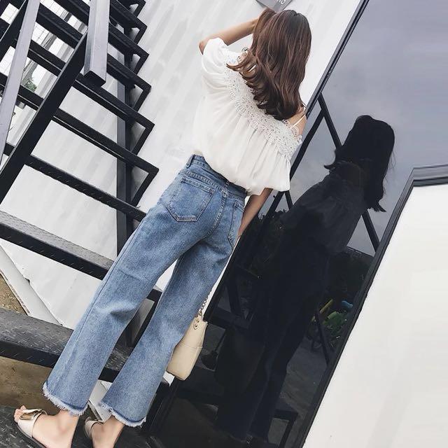 韓版 牛仔高腰寬褲