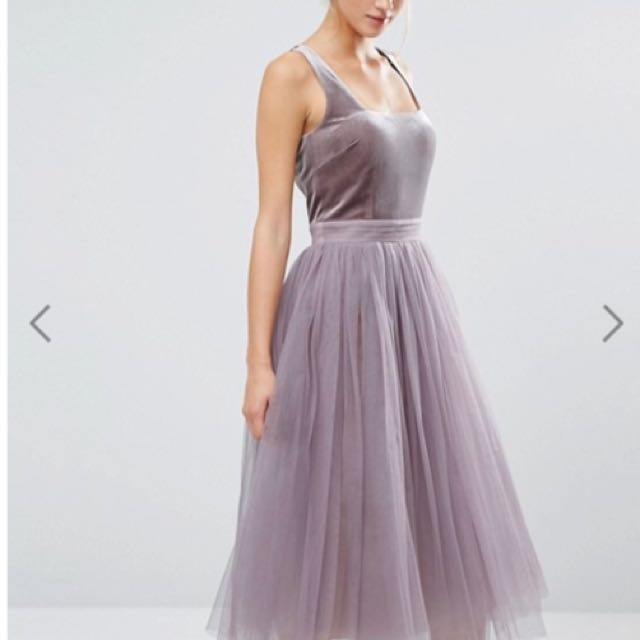 Asos* Velvet And Tulle Dress