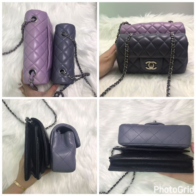 Authentic CHANEL blue grey extra mini flap bag