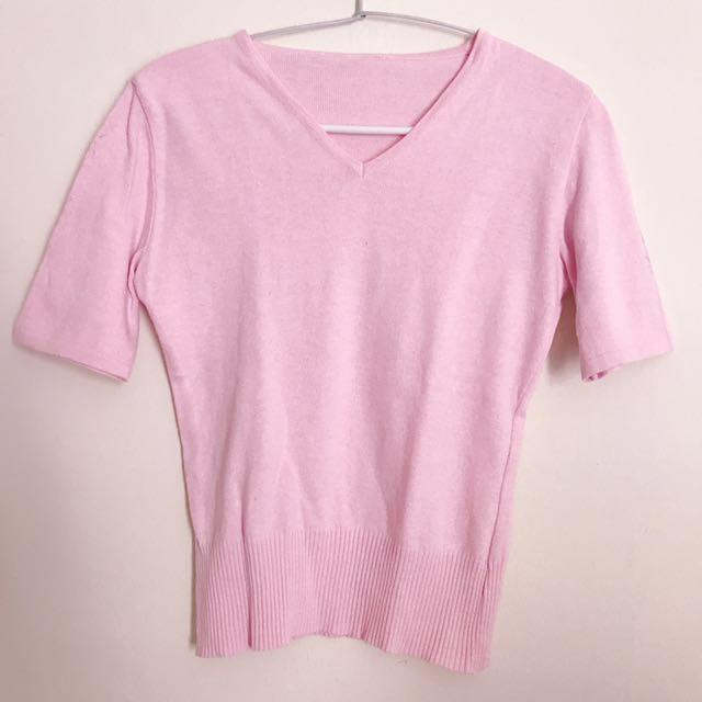 baju atasan rajut pink wanita