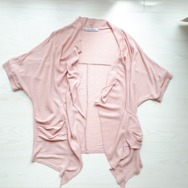 Batwing Assymetrical Cardigan - Dusty Rose Pink