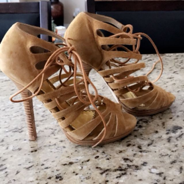 Bebe Size 6.5 suede strappy sandals