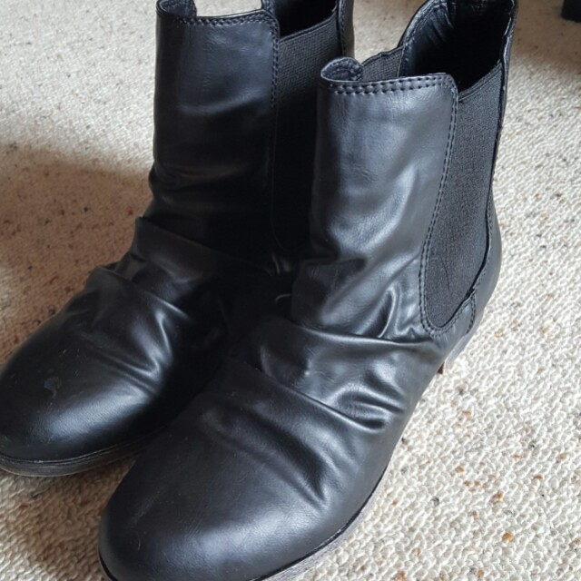 Black boots - leather