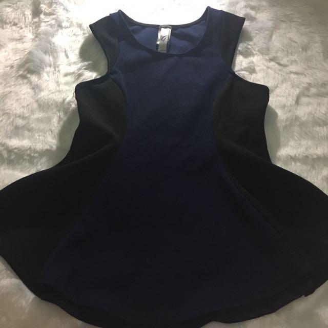 Black/Blue Peplum Top