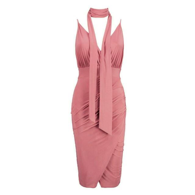 Boohoo Petite Slinky Leanne wrap dress removable choker scarf