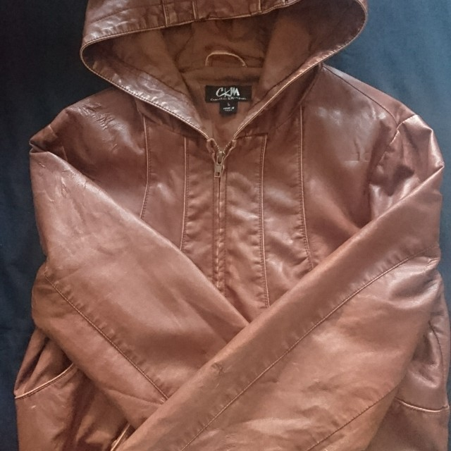 Brown Faux Leather Jacket with Hoodie (size L)