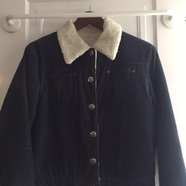 Corduroy Fuzzy Lined Blue Jacket