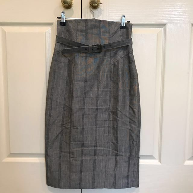 Cue size 6 high waisted grey skirt