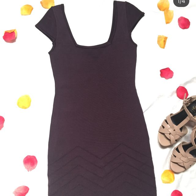 Dark purple bebe bodycon dress / preloved herveleger / herve ledger murah / preloved bebe dress