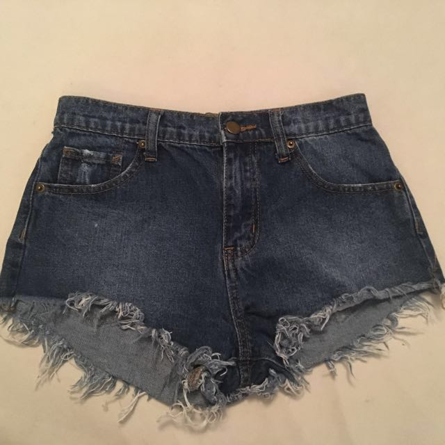 Distressed Mid-Rise Jean Shorts