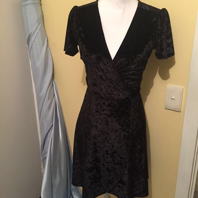 Dotti Black Crushed Velvet Wrap Dress
