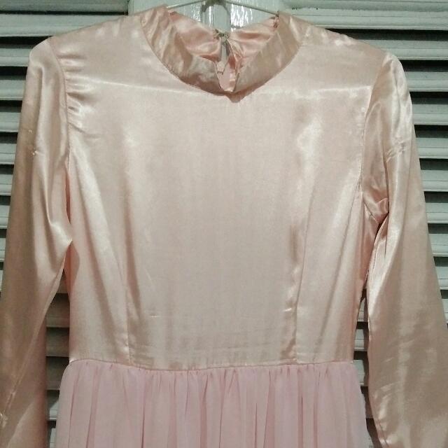 Dress Sifon Wanita Baby Pink Baju Satin Baju Pesta Cewek