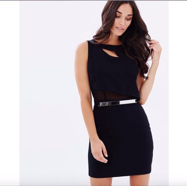 GUESS Size XS SL Asymmetrical Bodice Belted Dress