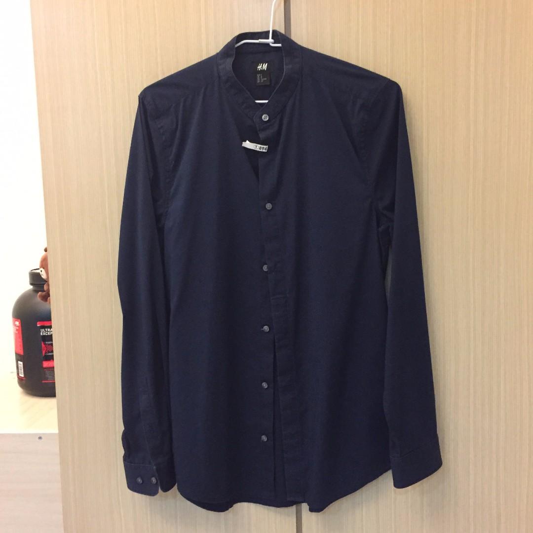H&M 長袖襯衫 無領 深藍