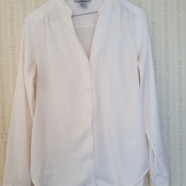 H&M size 10 cream long sleeve shirt