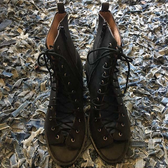 Jeffrey Campbell Black Leather Lace Up Heeled Boots