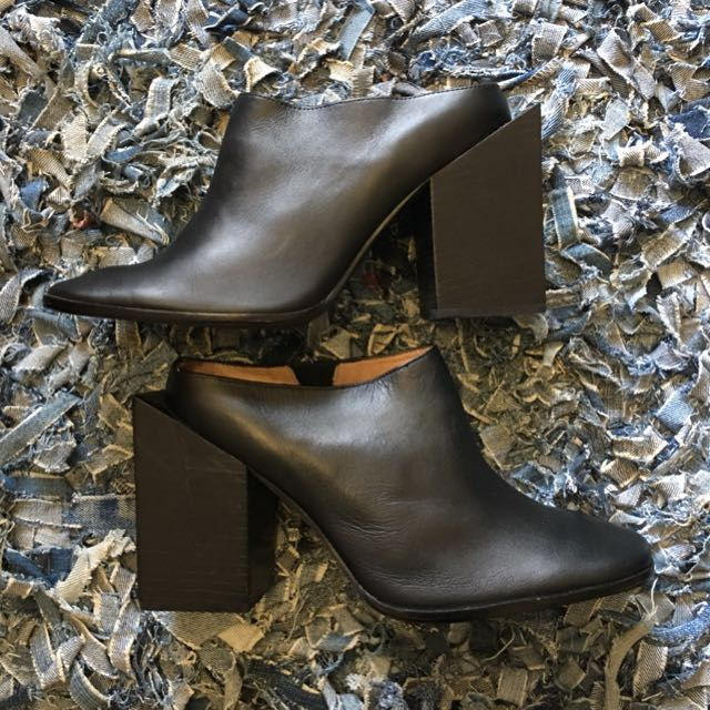 Jeffrey Campbell Black Leather Mules
