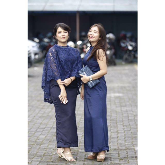 Kebaya Dress Brokat Navy Women S Fashion Women S Clothes On Carousell