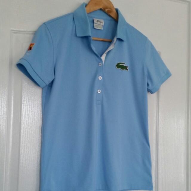 Lacoste Australian Open Ladies Tennis Top Active Polo Shirt Pale Blue Size 40 Au 12