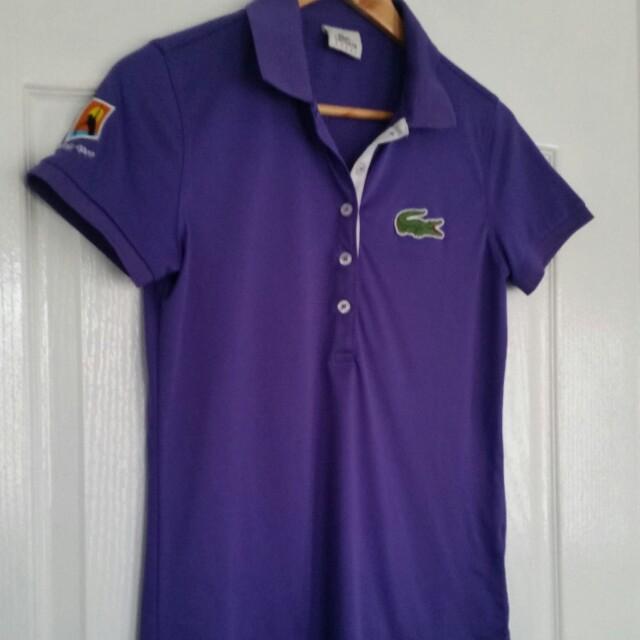 Lacoste Australian Open Ladies Tennis Top Active Polo Shirt Purple Size 40 Au 12