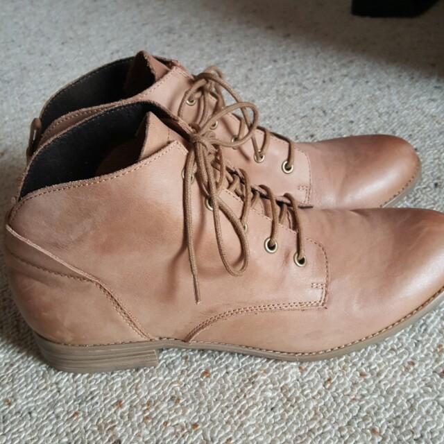 Leather ankle boots - pulp noir