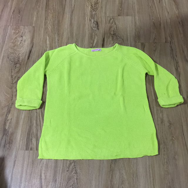 Lime green knitted jumper