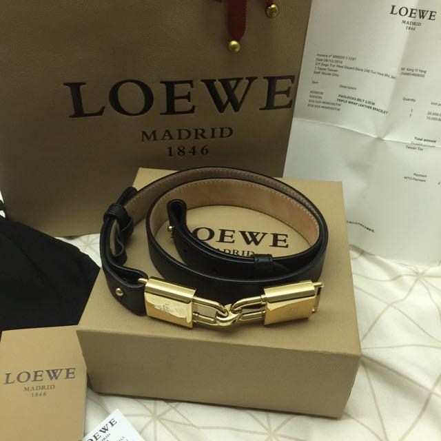 Loewe 羅威 皮帶 2.5CM Padlocks Belt 降價金色 90~100cm