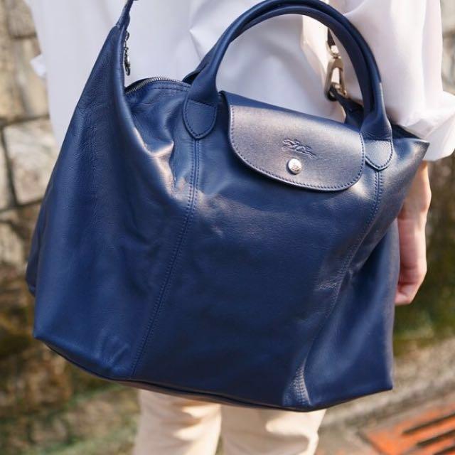 Longchamp Le Pliage Cuir (navy blue) medium